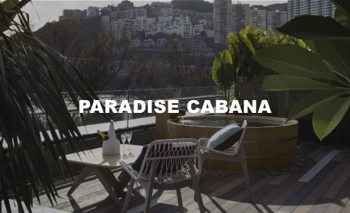 PARADISE AT CABANA     $35,980  exclusive access to paradise for up to 12 guests     Private japanese bath, outdoor showers, beach towel, and cabana locker room twelve bottles of dom perignon champagne (750ml), or absolut elyx vodka (700ml), or beefeather 24 gin (700ml),    or chivas regal 12yo whiskey (700ml), or 12 buckets of 12 bottles of asahi beer (330ml each) or 12 buckets of 12 soft drinks (330ml each)