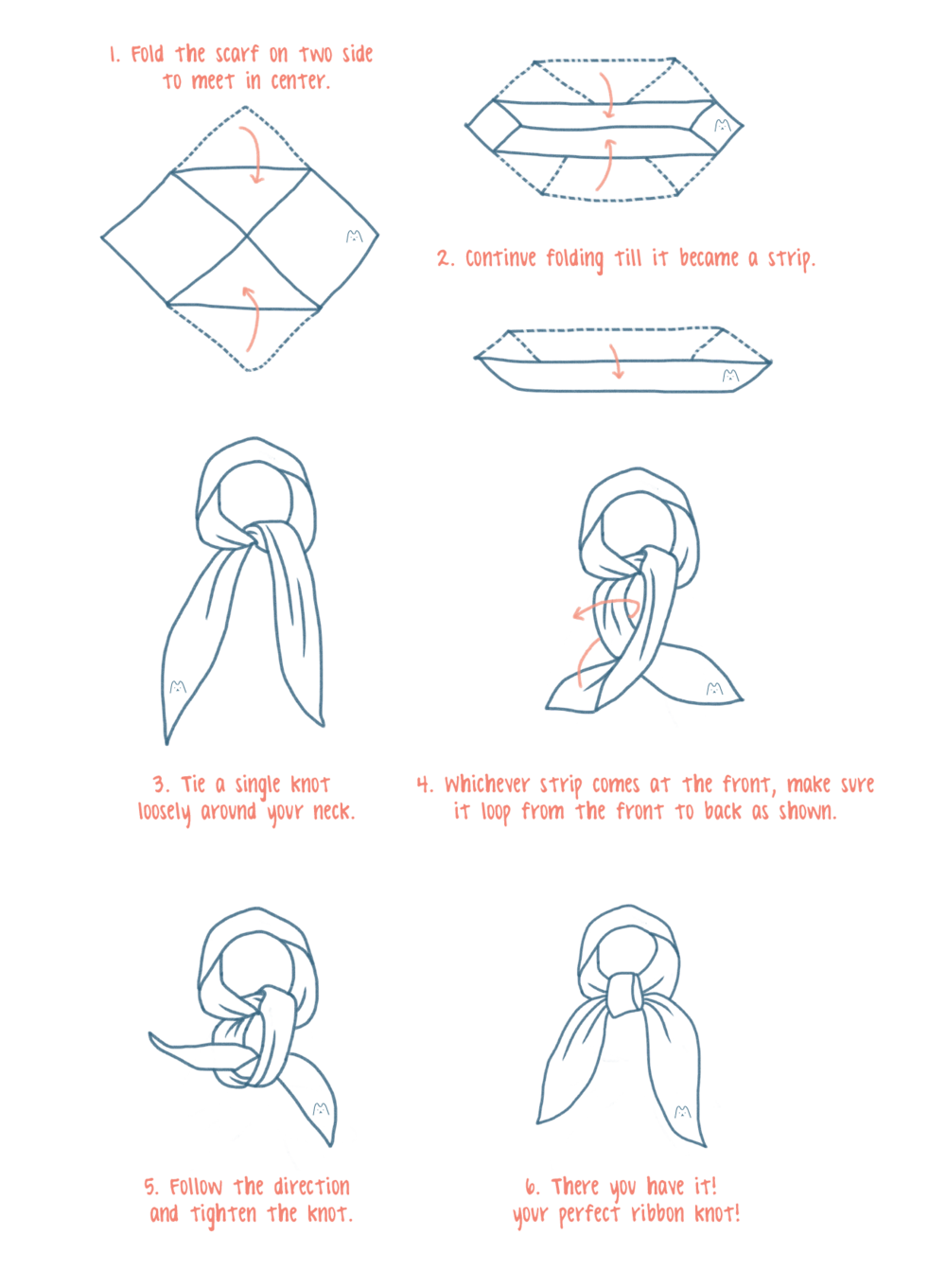 Ways To Tie A Square Scarf Made By Mate Tying Diagram The Ribbon
