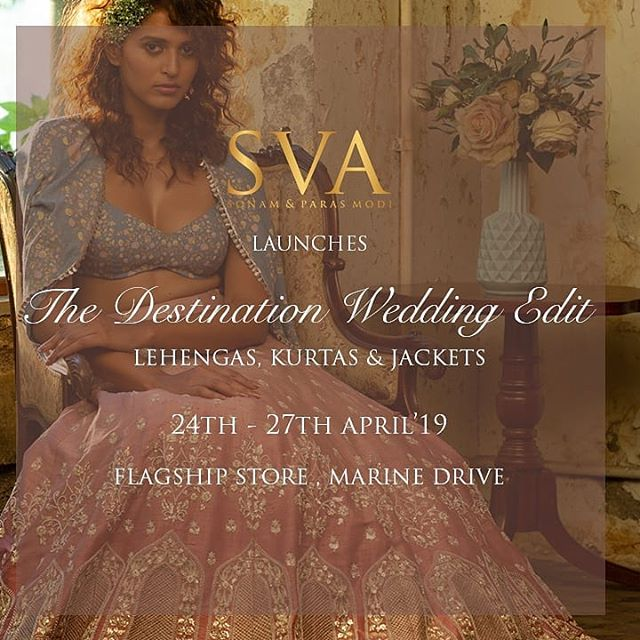 We are super excited to announce the launch of the destination wedding edit for the #summerbride & #summergroom at #svaflagshipstore, Marine Drive, Mumbai. Lots of new breezy lehengas ❤️, kurtas and anarkalis added! Block your calendars:24th - 27th April. ❤️See you there  #sva #svacouture #svabride #svagroom #svacouple #destinationwedding #summerwedding #summerbrides #summergrooms #svaflagshipstore #marinedrive #mumbai #launching #lehenga #kurtas #anarkali