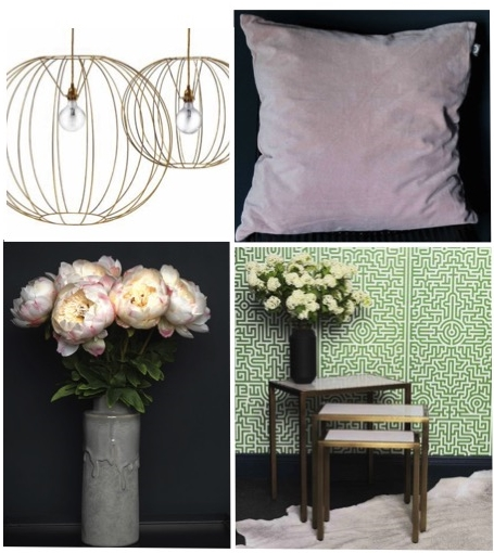 MISSONI BUBBLE GOLD LAMP from €600.00, CUSHION, PALE PINK €38.00, LARGE CREAM/PINK PEONY STEM €15.00, DRIP VASE from €18.95, BRASS AND MARBLE NEST OF 3 TABLES €360.00.
