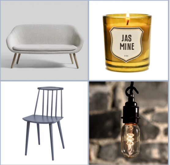 industry.ie – HAY Light Grey 2 Seater 'About A Lounge' Sofa € 1,995.00, Izola Candle – Jasmine € 40.00, Vintage Style Filament Bulb – 'Clear Tube' € 7.50, HAY 'J77′ Grey Wooden Chair € 185.00.