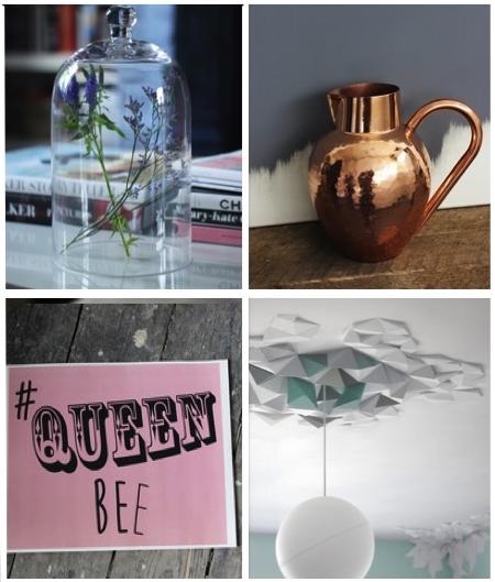 aprilandthebear.com –Glass belljar with handle €26.00, Chic copper jug €120.00, Queen bee print 20.00 , Rhombus Ceiling/Wall Tiles €165.00
