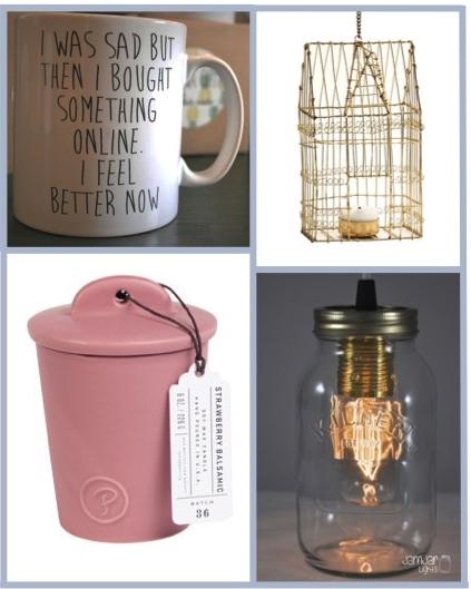 moss.ie – I was sad mug €12.50, Gold birdcage candle holder €14.95, Strawberry and balsamicceramic candle €29.95, Jam Jar Lights €89.95