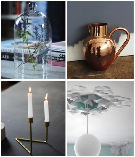 From left to right clockwise: Glass belljar with handle – €26, Chic copper jug – €120, Asymmetrical Brass-plated Candleholder – €26, Rhombus Ceiling/Wall Tiles – €165.