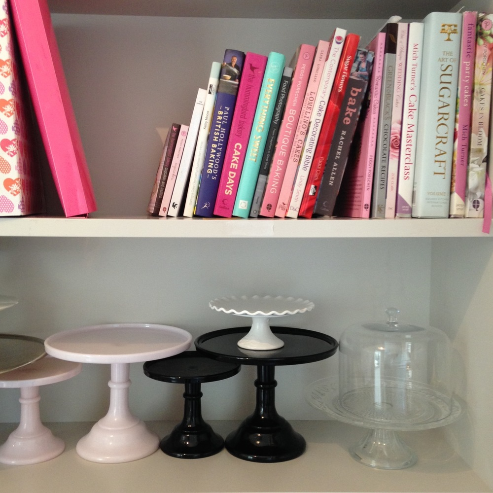 There is an amazing collection of cake books, stands and accessories throughout the cake studio