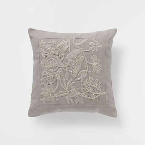 Floral Embroidered Linen Cushion, €19.99 - Zara Home