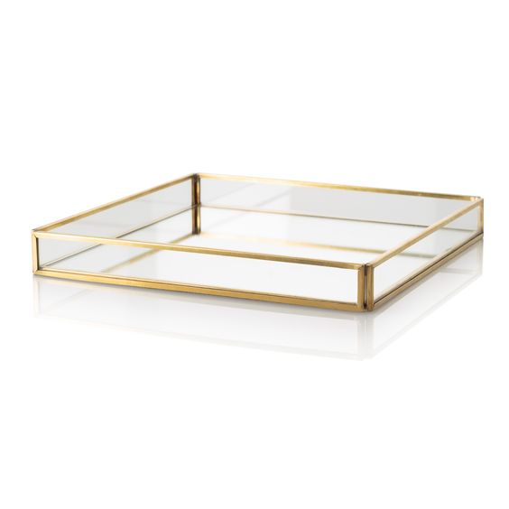 Medium Gold & Glass Tray