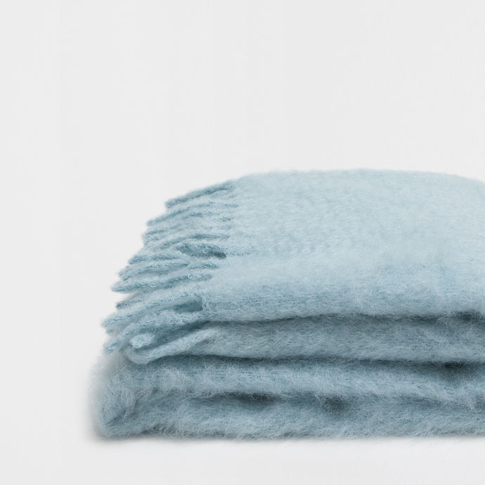 Blue Fringed Mohair Blanket, €99.99