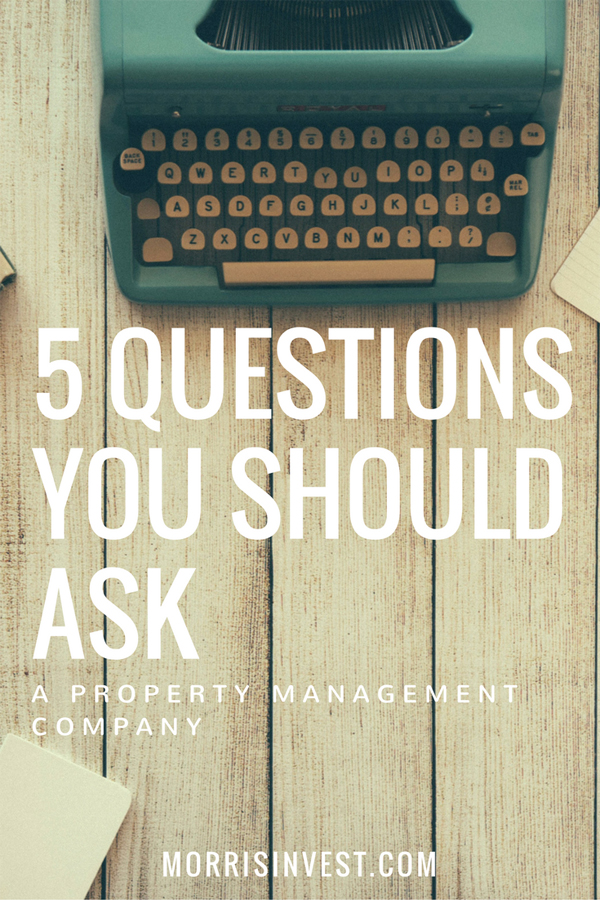 5 Questions You Should Ask a Property Management Company The singular most important piece of the real estate investing puzzle is fantastic property management. Remember the whole reason we're doing this is to create passive income not to create another job for ourselves. So we don't need the headaches of managing properties ourselves. In this video I'm going to walk through my five most important questions to ask your prospective property management company. Watch the video: https://www.youtube.com/watch?v=8i7C8RGyu08
