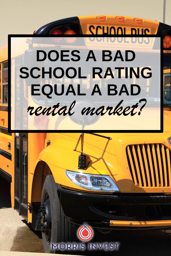How does a school rating factor into the value of a rental property?