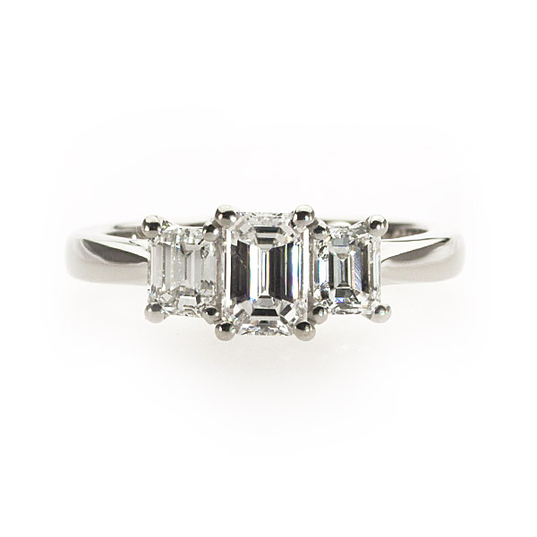 Tigerlily Emerald Shape 3 Stone Ring