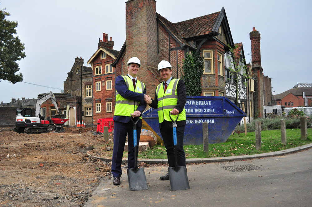 Garry Phillips and Cllr Bell break ground at the Southall Manor site