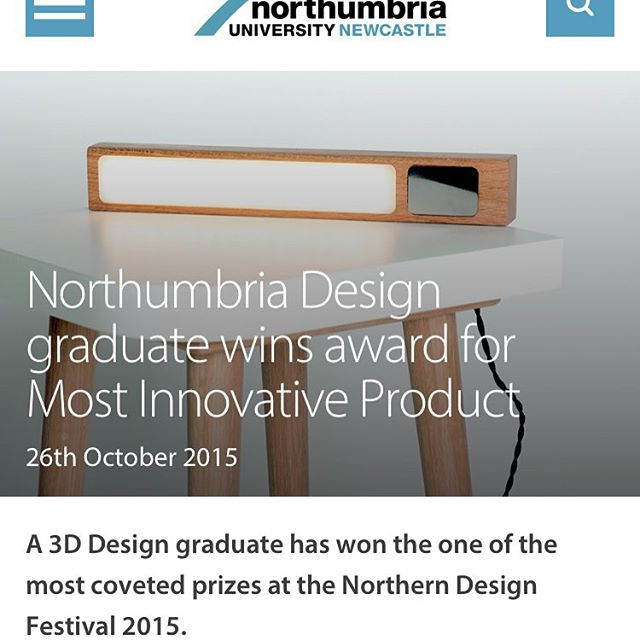 I've been featured on @northumbriauni website for my latest award for the Lux Table. #design #product #furniture #award #northumbria #lighting @formicagroupeu https://www.northumbria.ac.uk/about-us/news-events/news/2015/10/northumbria-design-graduate-wins-award-for-most-innovative-product/