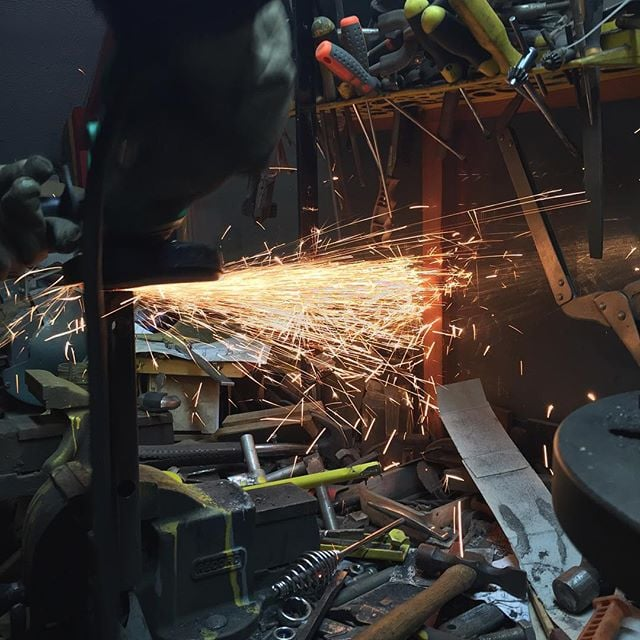 Grinding sparks are the best! #steel #grinding #sparks #welding #fabricating #metal #design