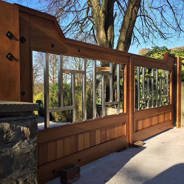Iroko/stainless steel gates for a client. Last few details left to go on. #design #handmade #gates #stainlesssteel #iroko #woodwork #1of1 #bespoke #wood
