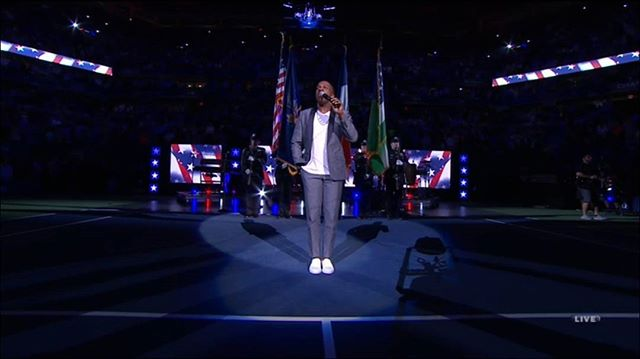 The Star-Spangled Banner performed by @LeslieOdomJr at the #USOpen.