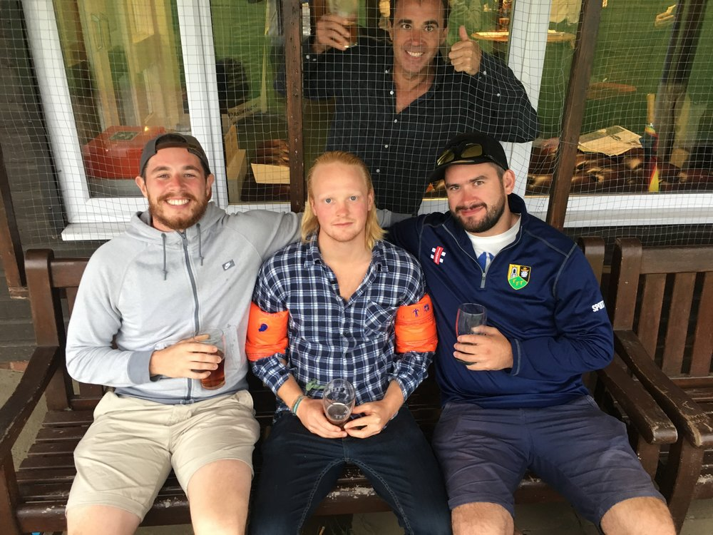 Debutant Ki 'Tikka Masala' Currie, Cousin Simon with his twin punishments, Man of the Match and birthday boy Taters and Patrick trapped in a cage entirely of his doing.