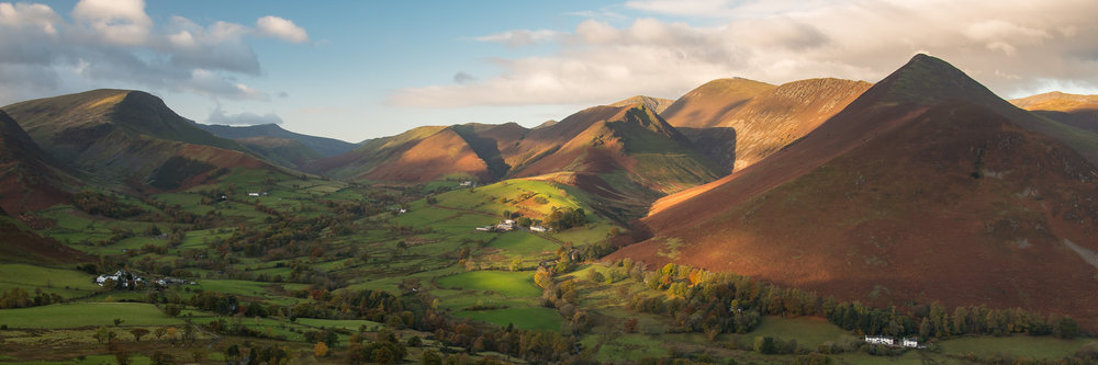 As is often the case in the Lake District, the moments of good light are brief but wonderful.  This image of Rigg Beck and Causey Pike is a 3:1 crop from a single frame.