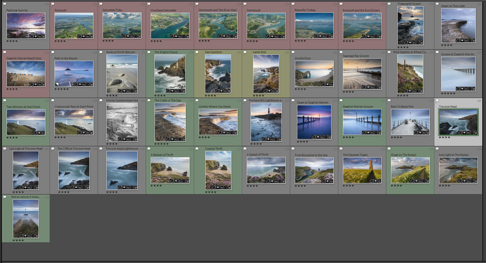 Creating a dynamic collection allowed me to find all my images from the South West Coast Path.