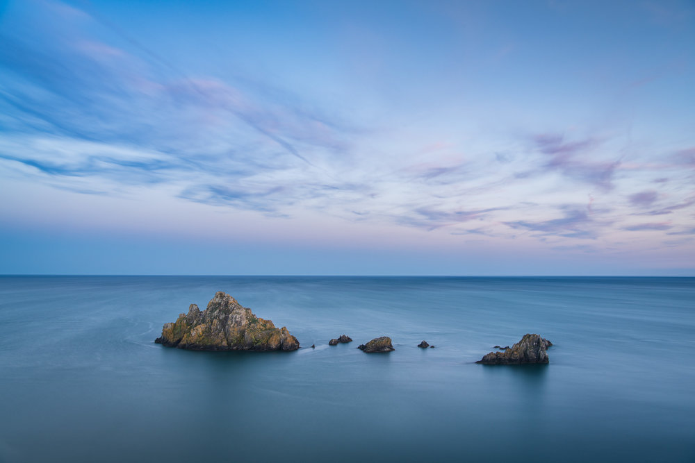 Islands in the Blue  - Froward Point, Devon: Nikon D850, Nikkor 24-70 mm f/2.8 at 29 mm, 40 secs at f/11, ISO 64, Lee Filters Circular Polariser.