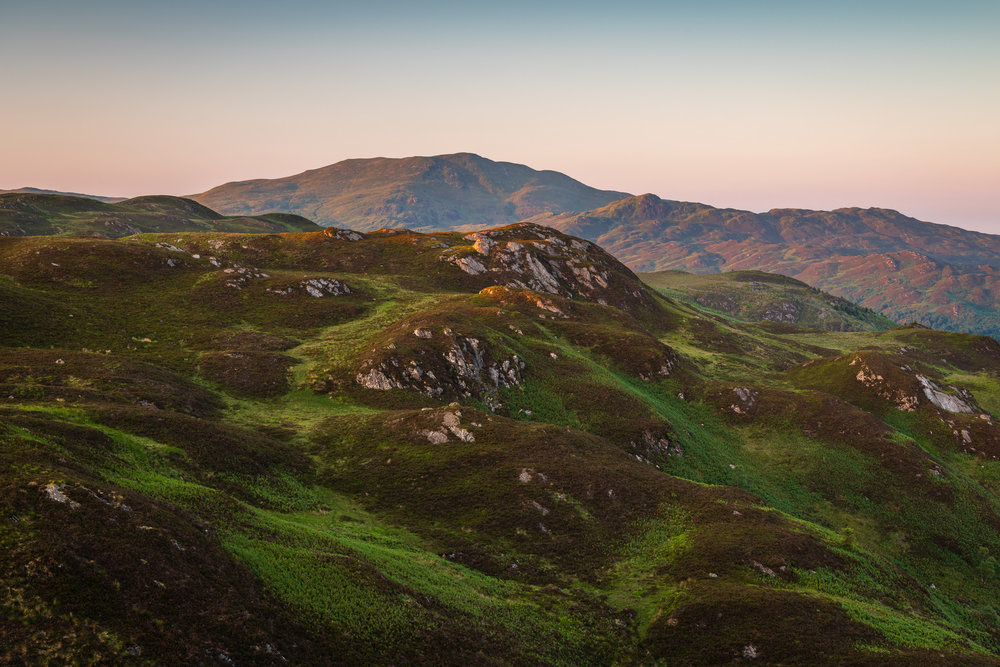 Looking North from Ben A'an on a Beautiful Summers Evening  - Loch Lomond and The Trossachs National Park: Nikon D850, Nikkor 24-70 mm f/2.8 at 48 mm, 1/3rd sec at ISO 64, f/8, Lee Filters 2 Stop ND Grad.