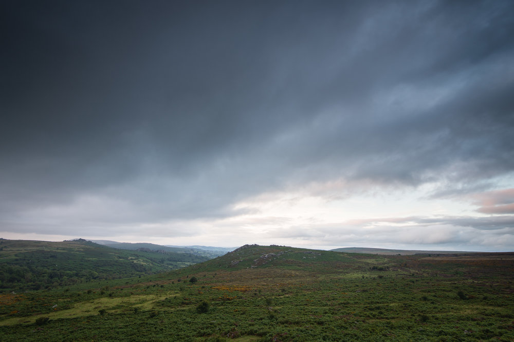 Storm Clouds over Dartmoor, Devon  - Nikon D850, Nikkor 16-35 mm f/4 at 18 mm, 0.6 seconds at ISO 64, f/11, Lee Filters ND Grad.