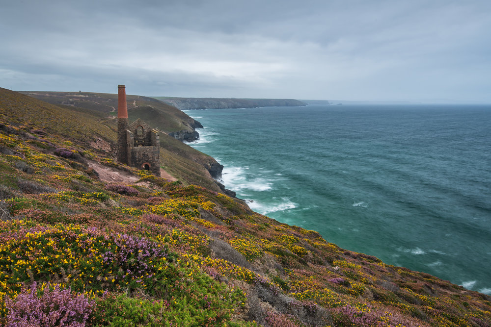 A Splash of Colour on a Grey Day at Wheal Coates #2, Cornwall  - Nikon D850, Nikkor 16-35 mm f/4 at 26 mm, 3 seconds at ISO 64, f/13, Lee Filters Circular Polariser and ND Grad.