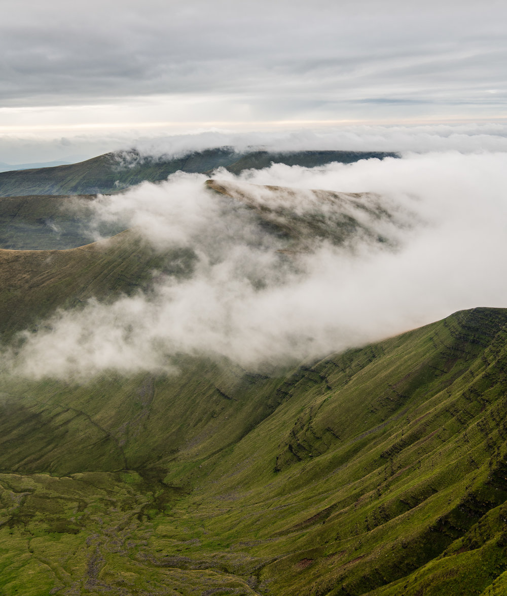 Creeping Clouds over Cribyn -  Pen y Fan, Brecon Beacons, Wales: Nikon D850, Nikkor 24-70 mm f/2.8 VR at 34 mm, 1/80th sec at ISO 64, f/8.
