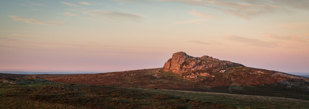 Haytor Rocks at Dusk, Dartmoor, Devon  - Nikon D850, Nikkor 24-70 mm f/2.8 at 62 mm, 1/3 sec at ISO 64, f/11. Lee Filters ND Grad, single image crop at 6:17.