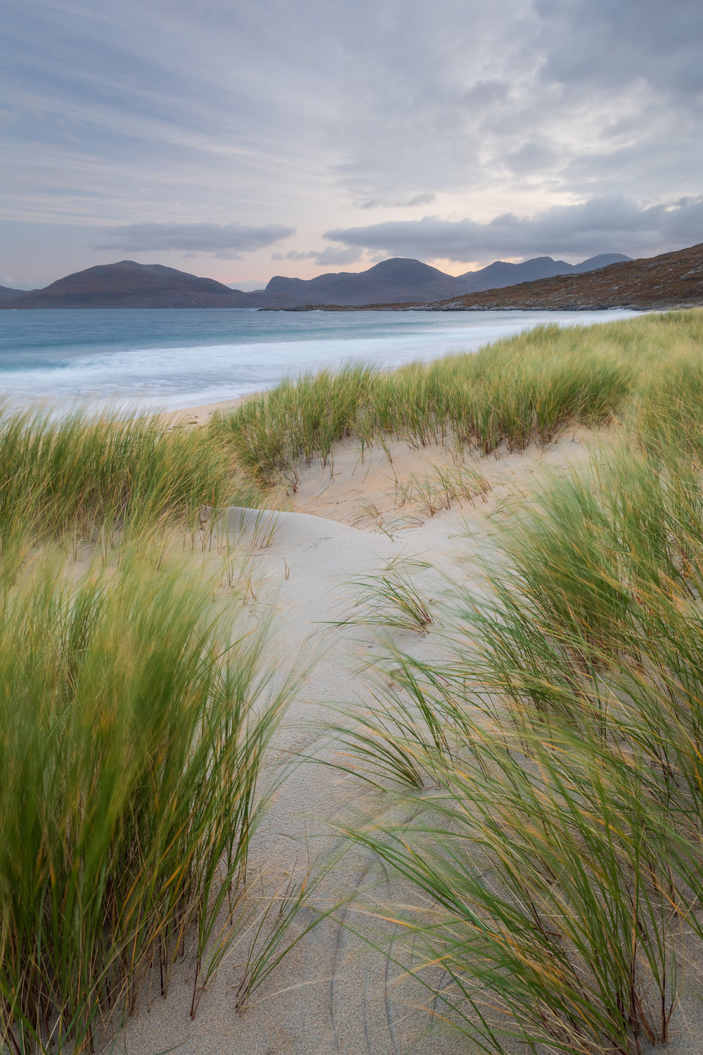 North Harris from Luskentyre Beach, Isle of Harris  - Nikon D850, Nikkor 16-35 mm f/4 at 19 mm, f/13, 3 seconds at ISO 200, Lee Filters Circular Polariser and ND Grad.