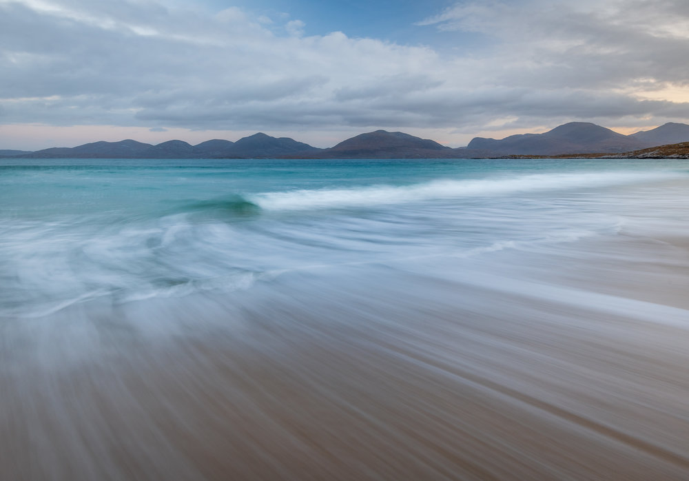 Pull of the Tide at Luskentyre Beach, Isle of Harris  - Nikon D850, Nikkor 16-35 mm f/4 at 19 mm, f/13, 2 seconds at ISO 64, Lee Filters Circular Polariser and ND Grad.