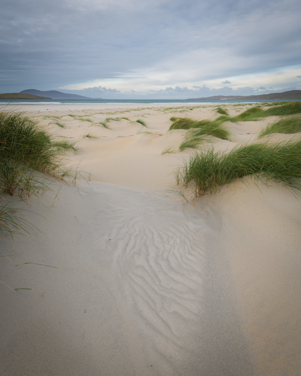 Dunes of Luskentyre Beach #2, Isle of Harris  - Nikon D850, Nikkor 16-35 mm f/4 at 20 mm, f/13, 1/5th second at ISO 64, Lee Filters Circular Polariser and ND Grad.