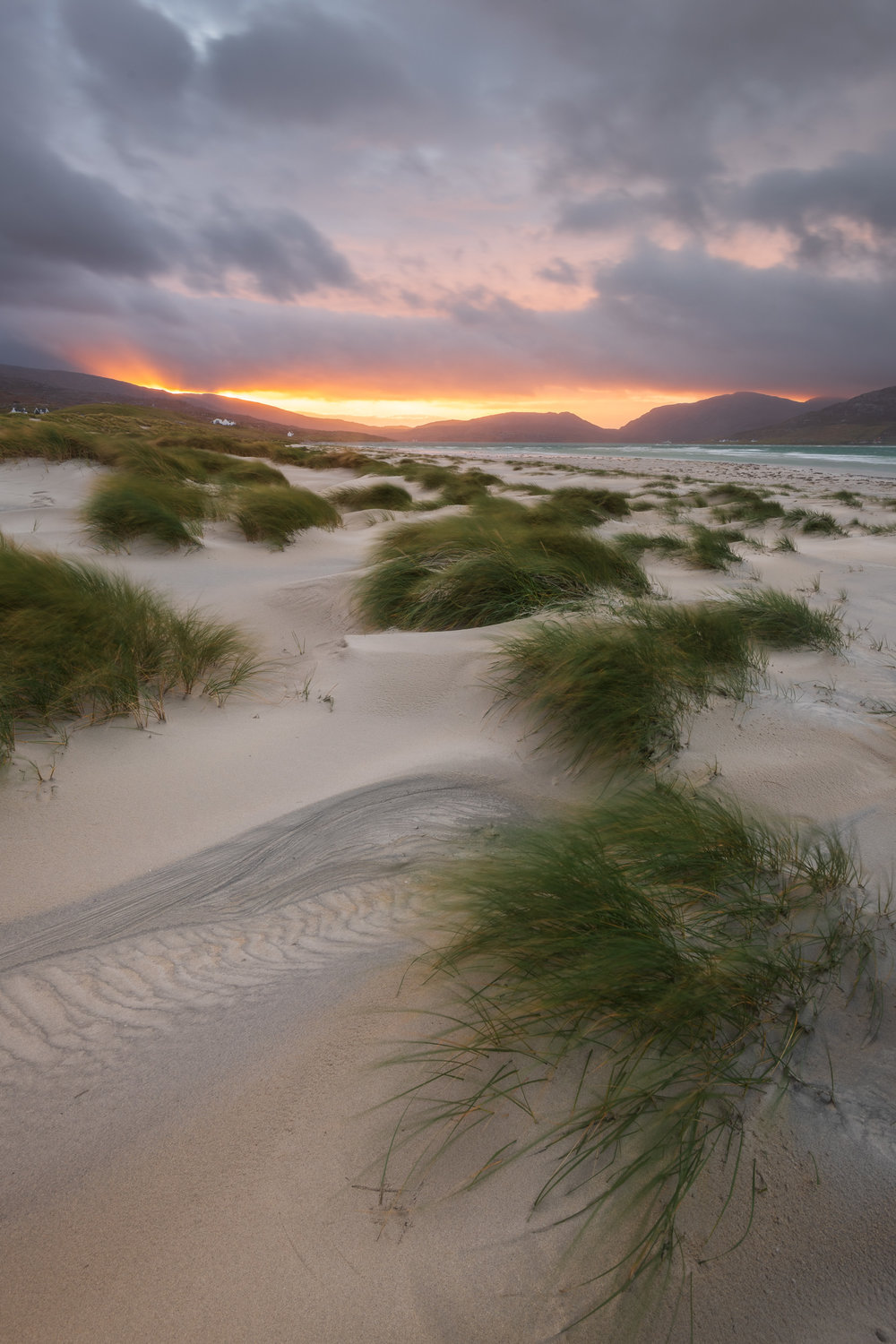 Sunrise at Luskentyre Dunes, Isle of Harris  - Nikon D850, Nikkor 16-35 mm f/4 at 18 mm, f/13, 1 second at ISO 100, Lee Filters Circular ND Grad.