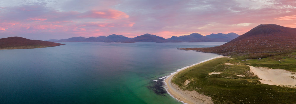 Luskentyre Beach Panorama, Isle of Harris  - DJI Mavic Pro, 1/50th second at ISO 161, 26 mm at f/2.2, 9 image stitch cropped at 6:17.