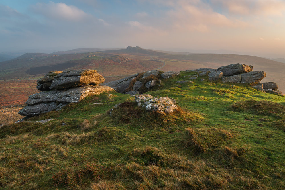 Dawn on Rippon Tor, Dartmoor, Devon  - Nikon D850, Nikkor 24-70 mm f/2.8 VR at 29 mm, f/11, 1/4 second at ISO 64, Lee Filters Circular Polariser.