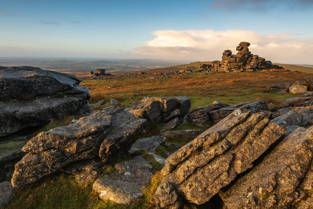 Late Morning Light on Great Staple Tor, Dartmoor, Devon  - Nikkon D850, Nikkor 16-35 mm f/4 at 21 mm, f/13, 1/6th sec at ISO 64, Lee Filters ND Grad.