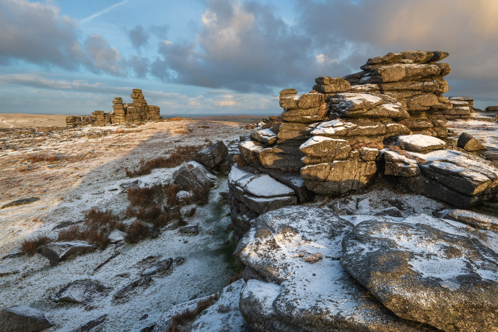 A Dusting of Snow on Great Staple Tor, Dartmoor, Devon  - Nikon D850, Nikkor 16-35 mm f/4 at 21 mm, f/13, 1/6th sec at ISO 64.
