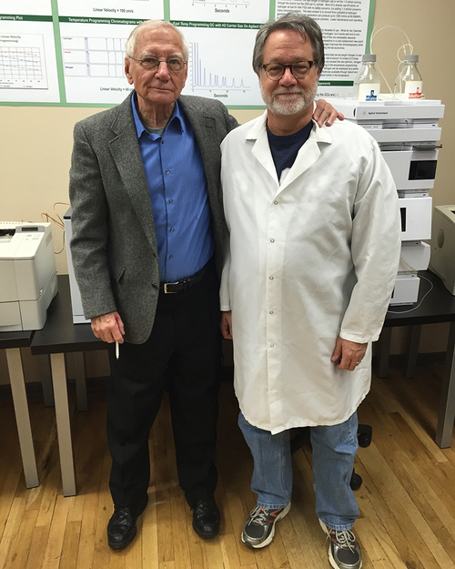 Criminal Defense Attorney Shane Phelps with Professor Emeritus Dr. Harold McNair, one of the founding pioneers of chromatography science.