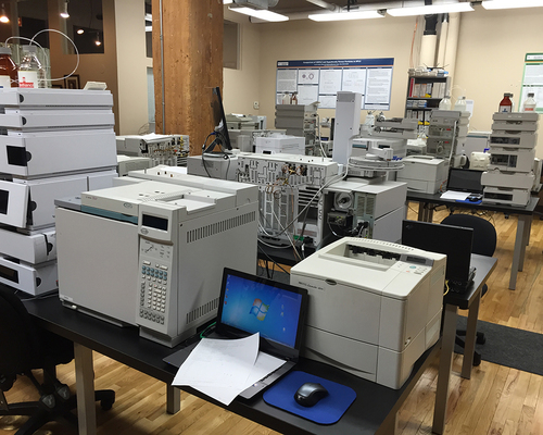 This is the area of Axion Laboratories of Chicago in which numerous gas chromatographs and mass spectrometers are located for use in training and analysis.