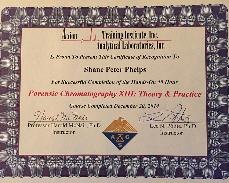 My certificate of completion from the week-long Forensic Gas Chromatography course taught at Axion Laboratories in Chicago.