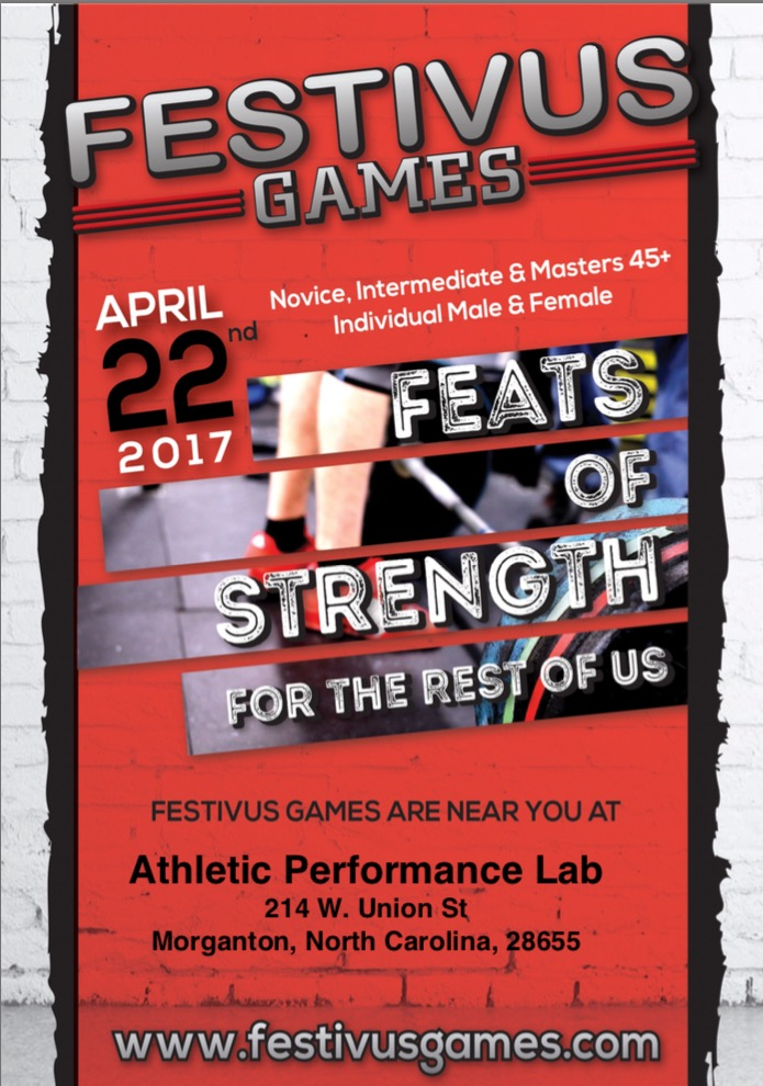 Join us for the Festivus Games on April 22, 2017.  Sign up now at www.festivusgames.com.