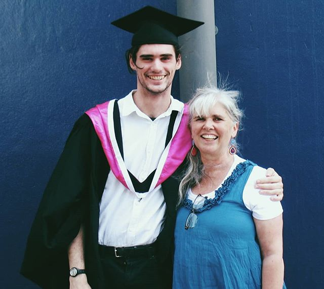 My mum made me go to my graduation so she could come all the way from NSW just to take this photo. Look how well she colour coordinated with Etihad Stadium - I dunno what I was thinking with the pink.