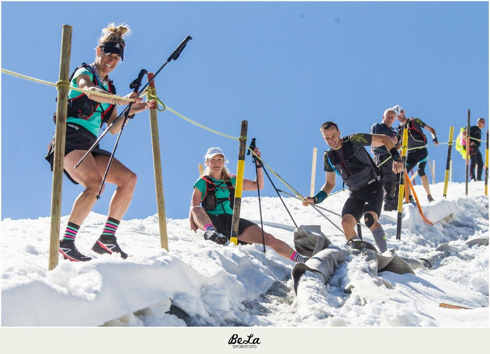 The first ever glacier crossing in the history of the race.  This photo makes me laugh because Sarah and I envisioned running down the snow like true Canadians...