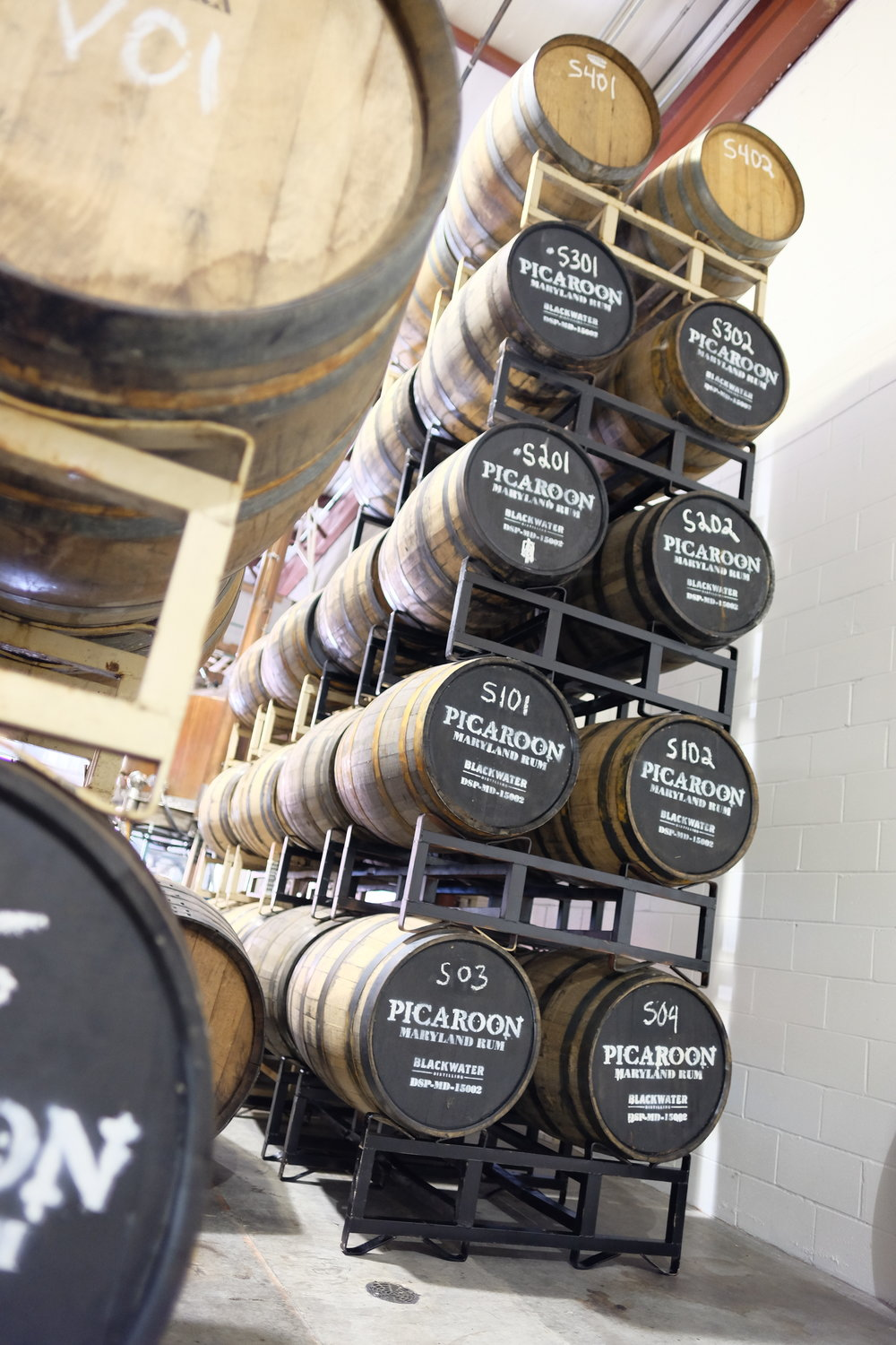 The five-level Picaroon solera at Blackwater Distilling