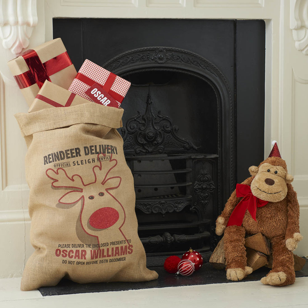 Rudolph Personalised Christmas Sack with Glitter Nose