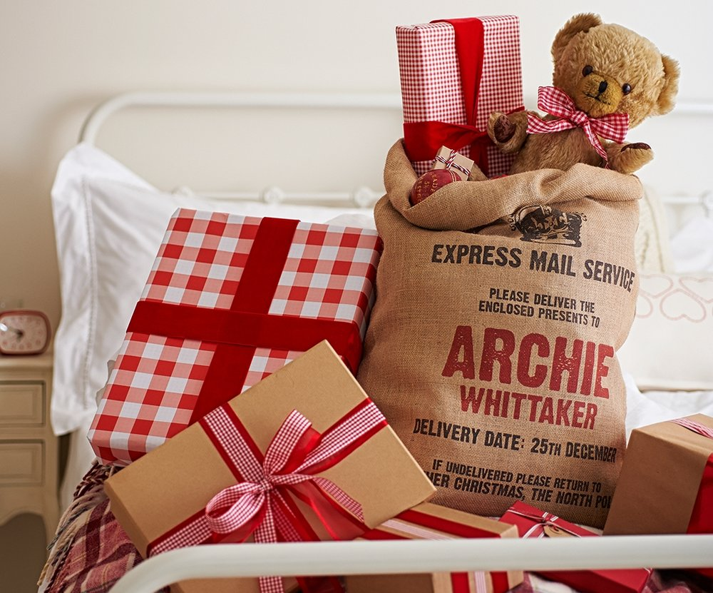 """Letterpress"" personalised Christmas sack"