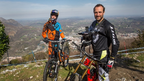 Claudio and Loic Bruni at the top of the Lourdes World Cup track