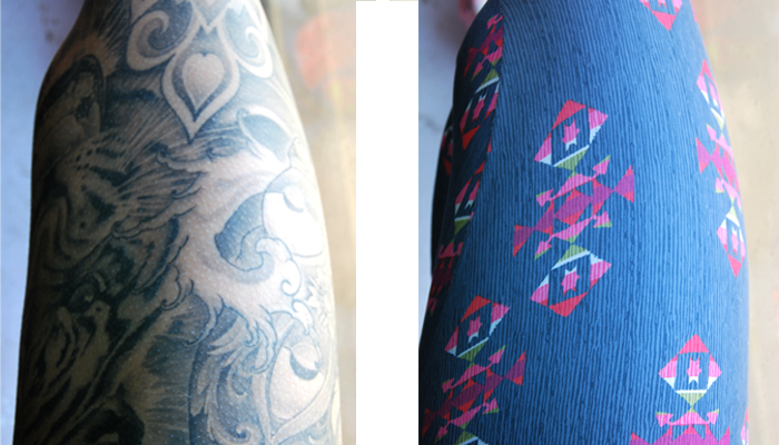 My non-scientific see-through test: Stretched out tattooed thigh in the sunlight with and without SHREDLY leggings. They passed!