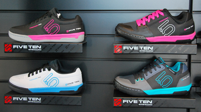 Five Ten's new Freerider Pro flat shoes alongside the current Freerider Contacts