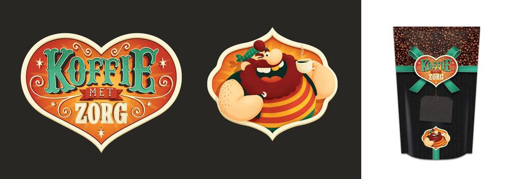 logo, mascotte, verpakking,
